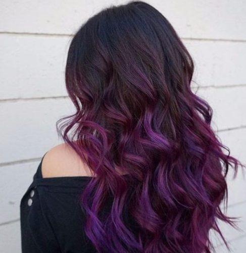 color púrpura del pelo balayage