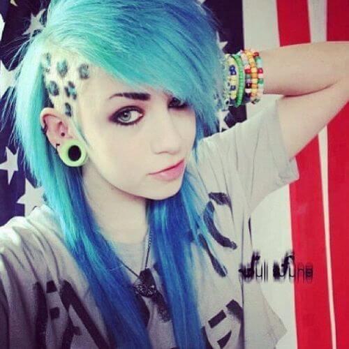 pelo azul corte de pelo emo peinado