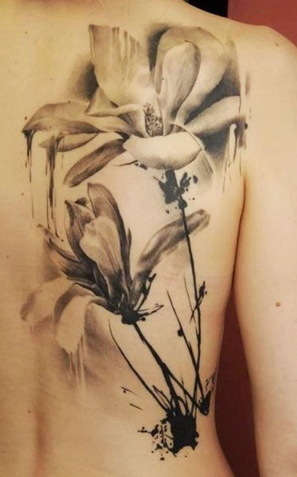 Tatuaje blanco y negro de la acuarela del vintage.