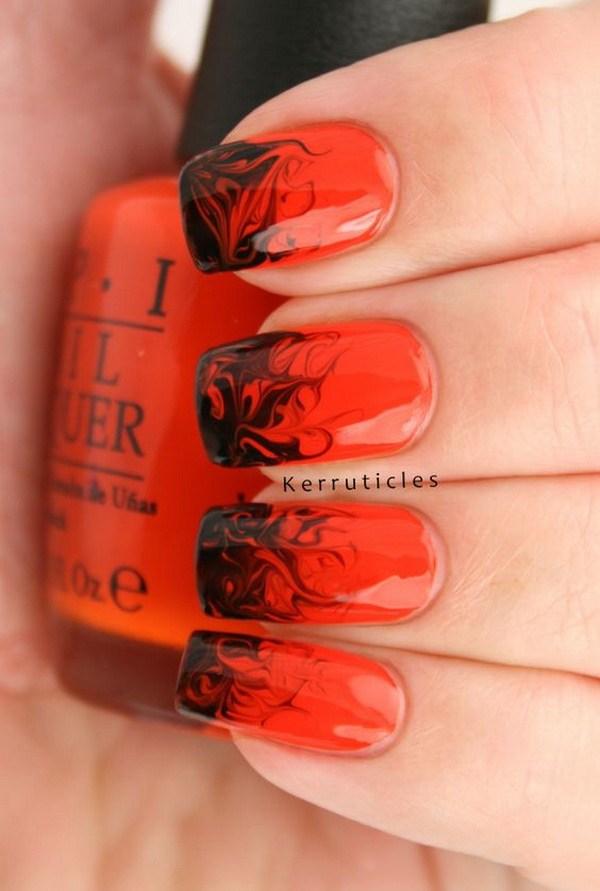 Diseño de uñas Halloween rojo y negro. Ideas de arte de uñas de Halloween.