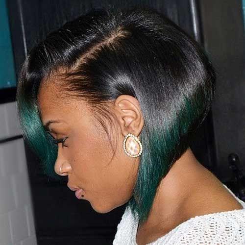 peinados de ombre bob verde para mujeres negras