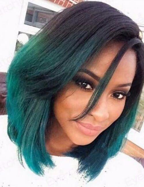 peinado corto para mujeres negras ombre verde bob medium