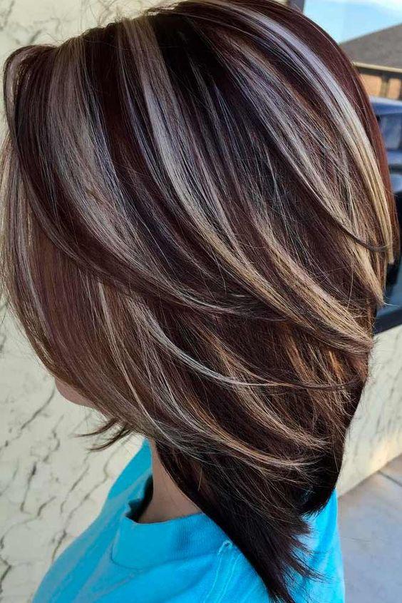 Café y crema #luces de luz y # cabello castaño claro con reflejos rubios