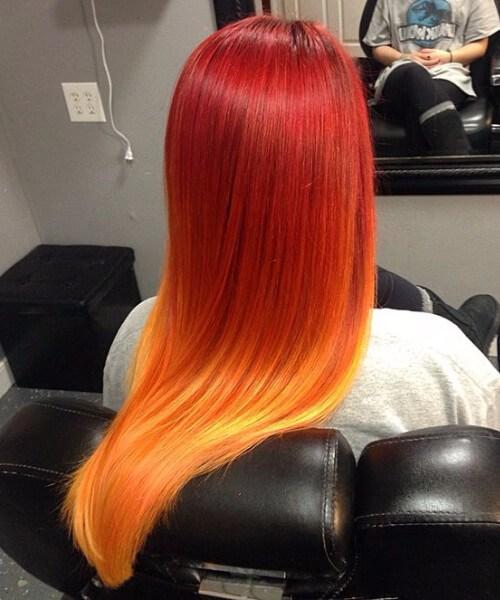 puesta de sol rojo ombre pelo