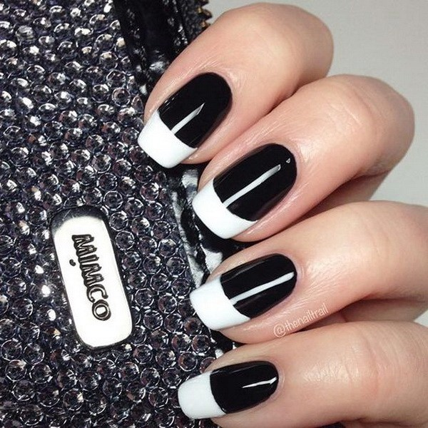 White Tipped Black Nails.
