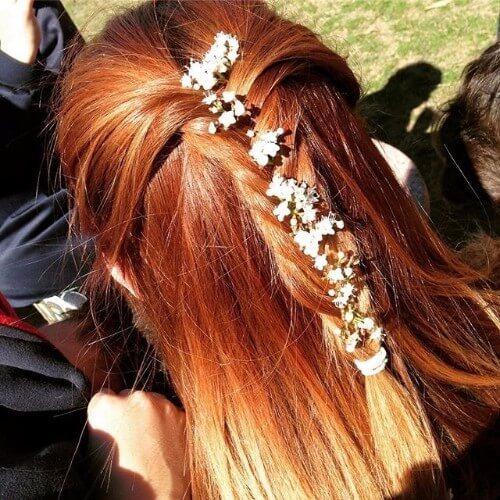 cabello trenzado marrón cobre
