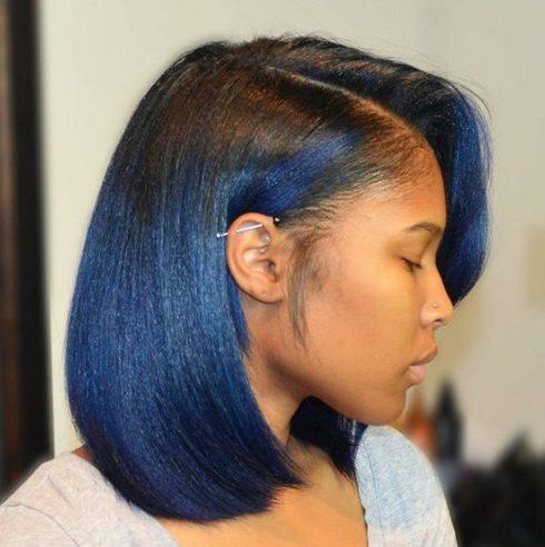 peinados bob azul para mujeres negras