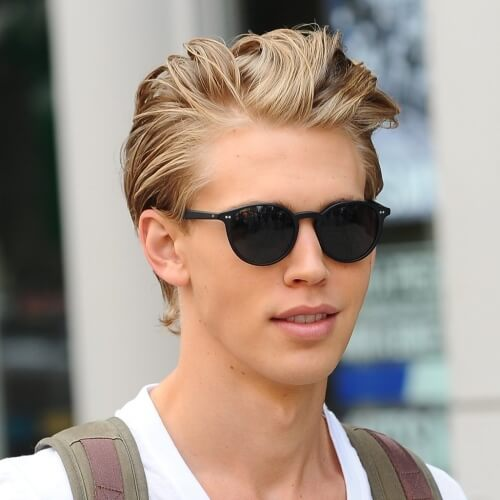 Swept Back Blonde Hairstyles para hombres