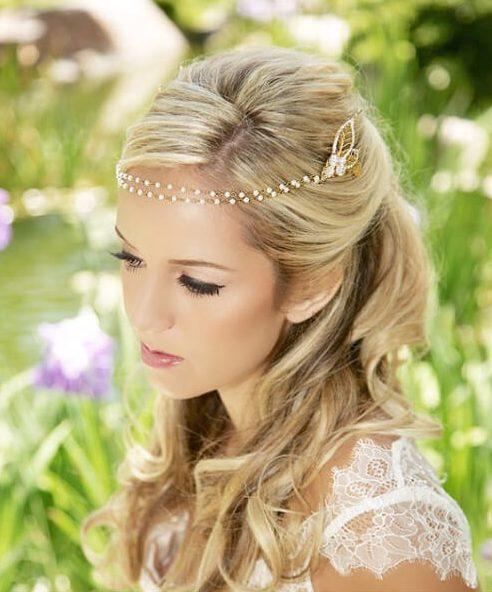 Peinados de novia de oro, perla, cristal, venda de cadena, para el cabello largo