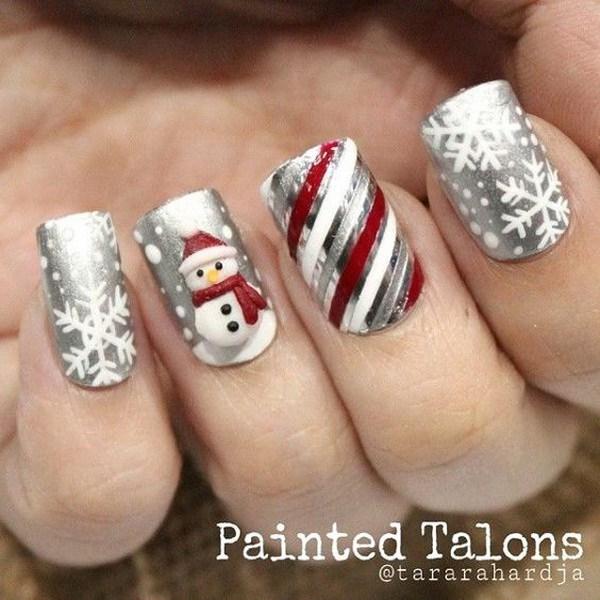 Frosty Snowman Christmas Nail Art Design.