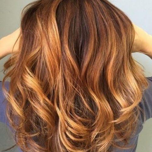 color de pelo balayage auburn