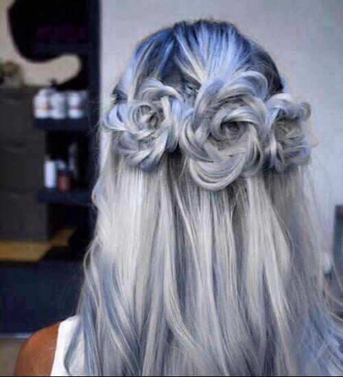 gris y azul ombre pelo