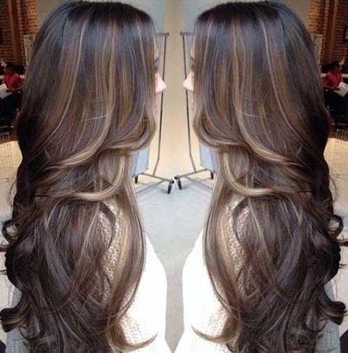 Peinados de color marrón oscuro largo-23