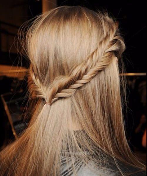 Fishtail doble trenzas peinados largos
