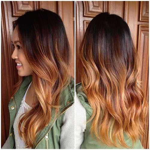 Ombre fotos de largos peinados rizados en capas