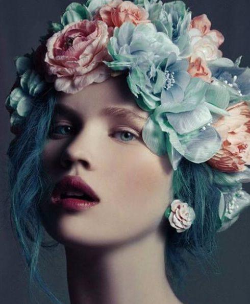 color de pelo verde azulado inspirado