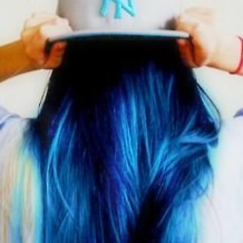 peinados negros y azules para el pelo lacio