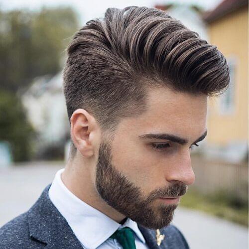 Afeitado abajo corte de pelo Pompadour