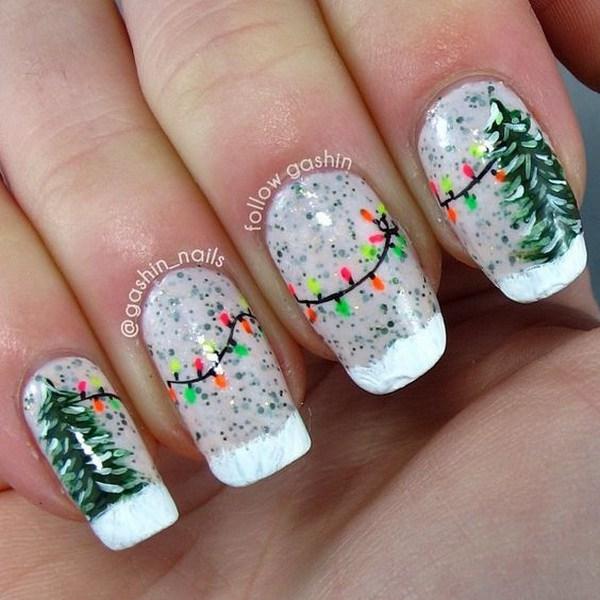 Verde árbol de Navidad y String Lights Manicure.