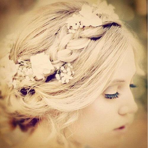 trenza de corona de flores