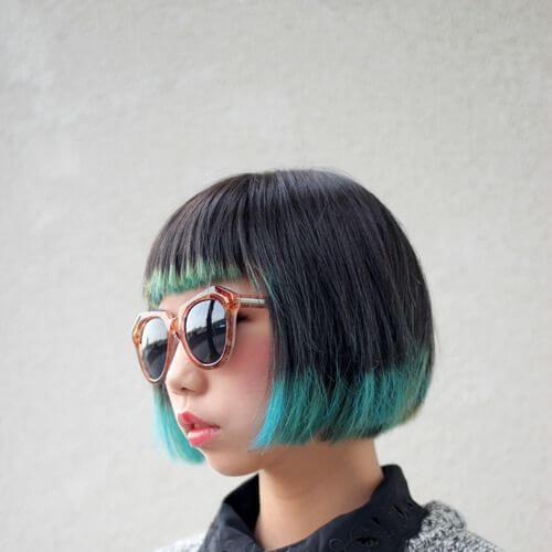 verde azulado invertido bob