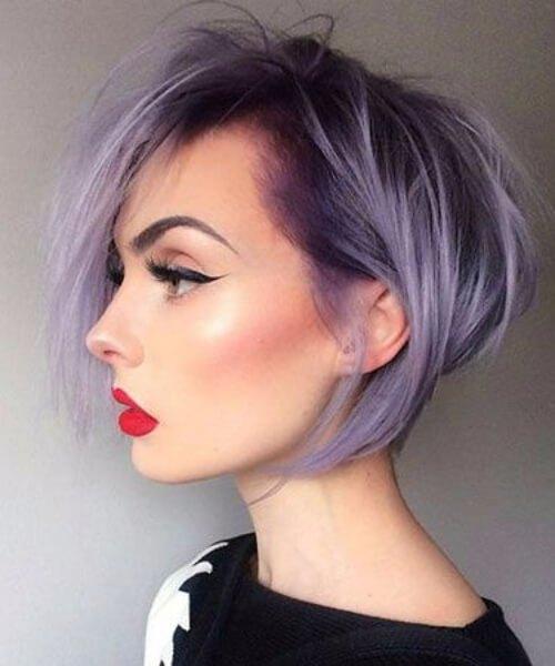 updos púrpuras para el pelo corto