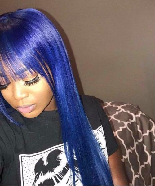 flequillo azul tejer peinados
