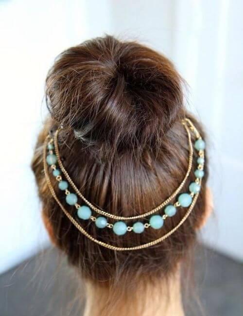 peinados de dama de honor de cadena azul