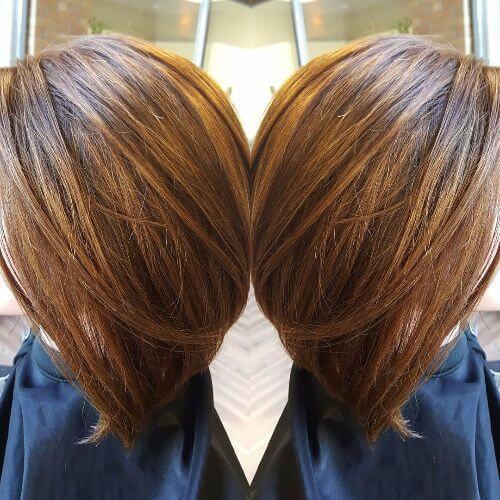 peinado lob con reflejos balayage caramelo