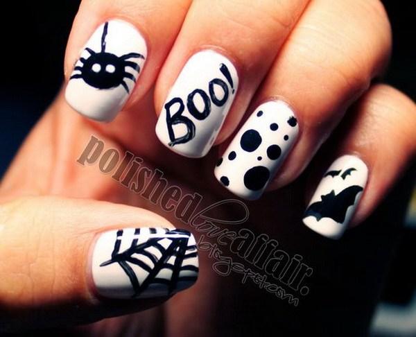 Diseños de arte en blanco y negro para Halloween.  Ideas de arte de uñas de Halloween.