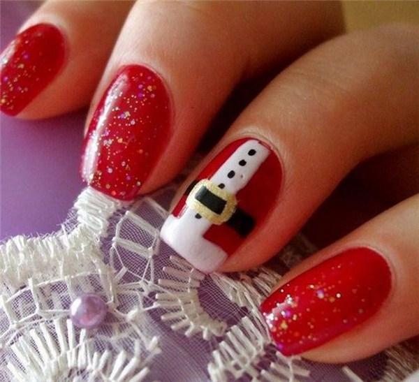 Diseño de manicura de Santa Clause para Navidad.