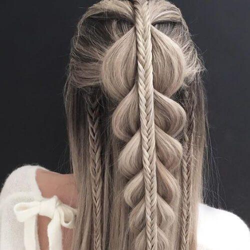 peinados de cola de pez y trenzas para cabello lacio