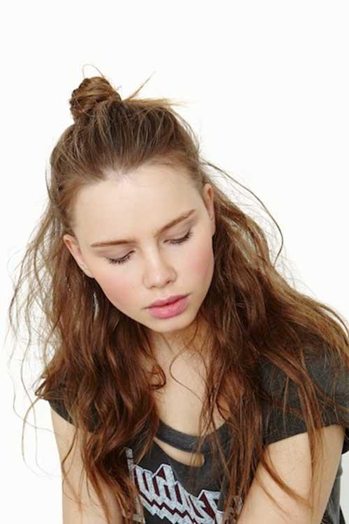 Mejores desordenado ondulado rizado medio updo peinados