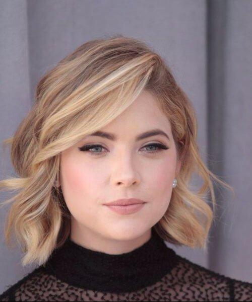 cortes de cabello medio a corto para caras redondas