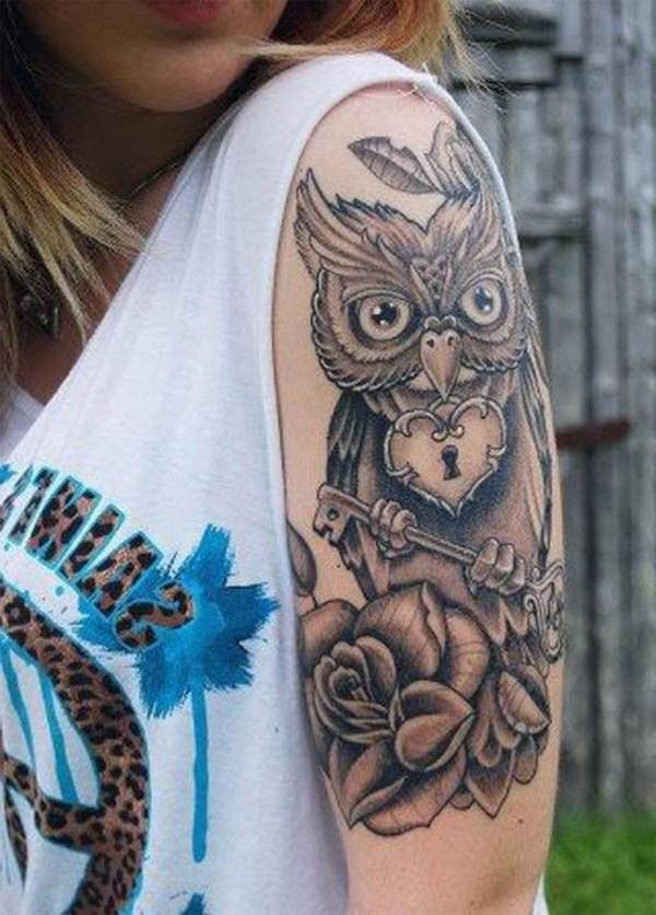 Owl Half Sleeve Tattoo Ideas para Mujeres.  Más a través de https://forcreativejuice.com/attractive-owl-tattoo-ideas/