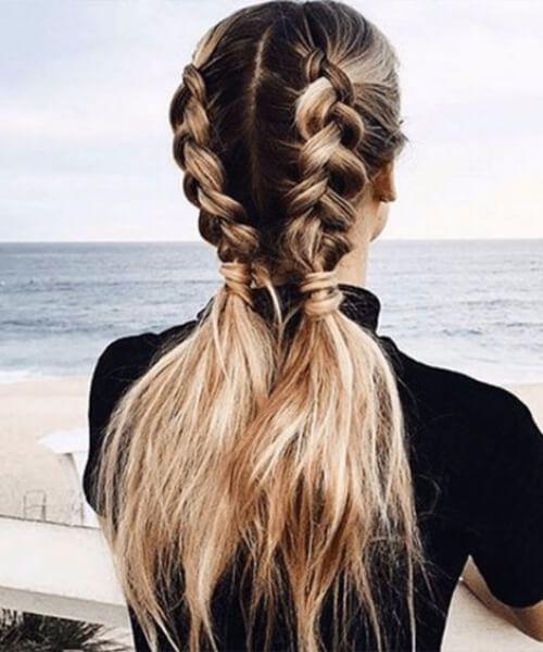 trenzas coletas peinados largos