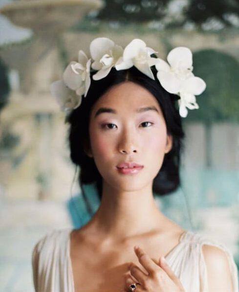 orquídeas blancas peinados de boda para el pelo ling