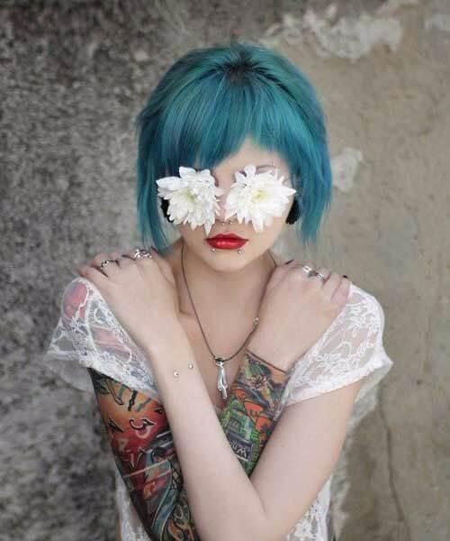 corto bob lado flequillo teal color de pelo