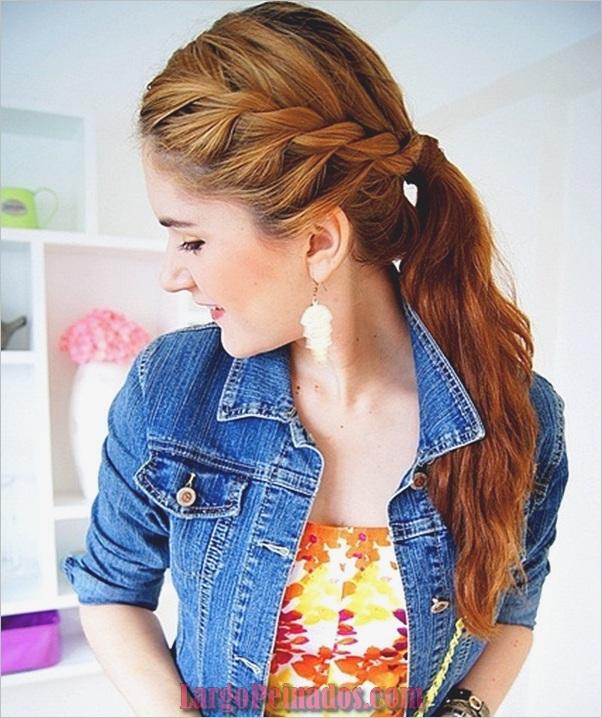 Peinados de cola de caballo laterales atractivos para niñas (19)