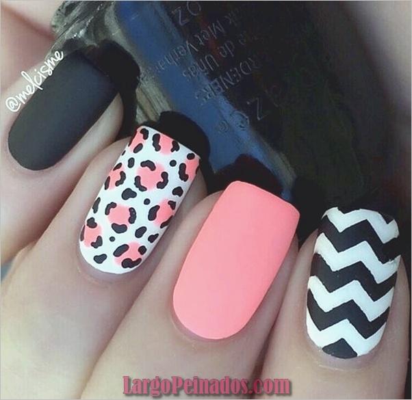 lindos rosados y negros diseños de uñas-6