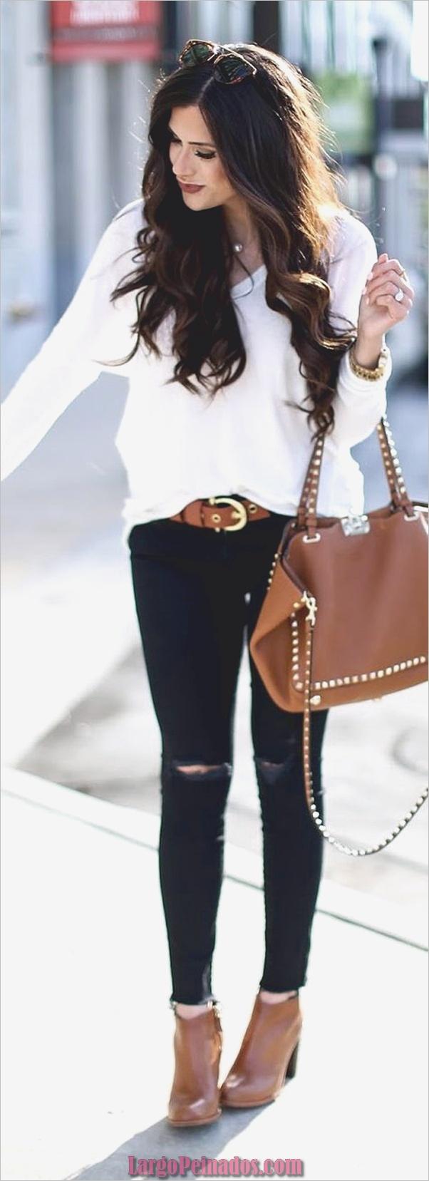 Traje de otoño negro + blanco + marrón