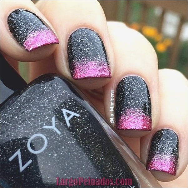 lindo-rosa-y-negro-uñas-diseños-8