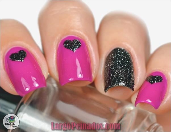 lindo-rosa-y-negro-uñas-diseños-3
