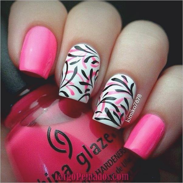 Diseños de uñas lindos, rosas y negros