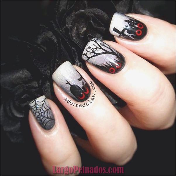 Diseños de uñas en blanco y negro (10)