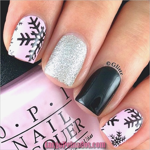 lindo-rosa-y-negro-uñas-diseños-2