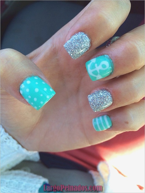 Ideas y diseños de arte de uñas azules (9)