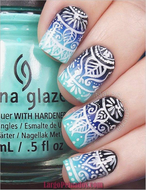 Ideas y diseños de arte de uñas azules (59)