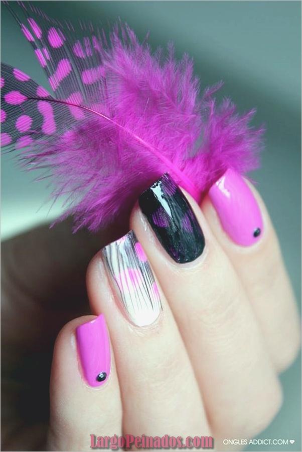 lindo-rosa-y-negro-uñas-diseños-13