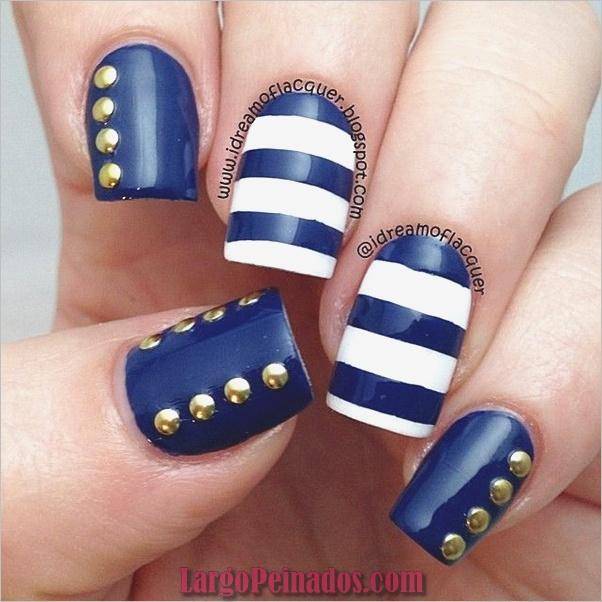 Ideas y diseños de arte de uñas azules (17)